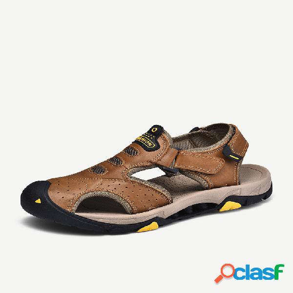 Masculino couro genuíno antiderrapante tamanho grande soft solado gancho sandálias outdoor loop