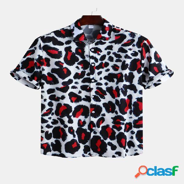 Mens holiday leopard impresso casual manga curta solta camisa