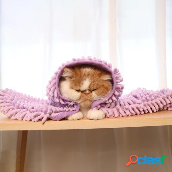 Novo pet cat fiber chenille de secagem rápida banho de beleza toalha soft e confortável cachorro toalha