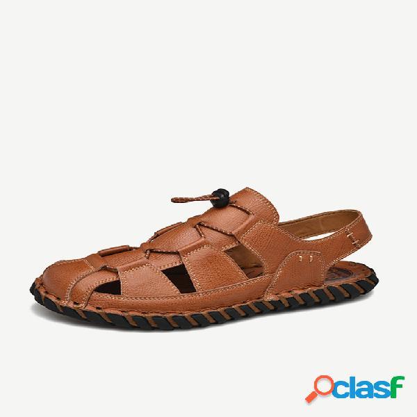 Sandálias casuais de couro com costura à mão antiderrapante soft