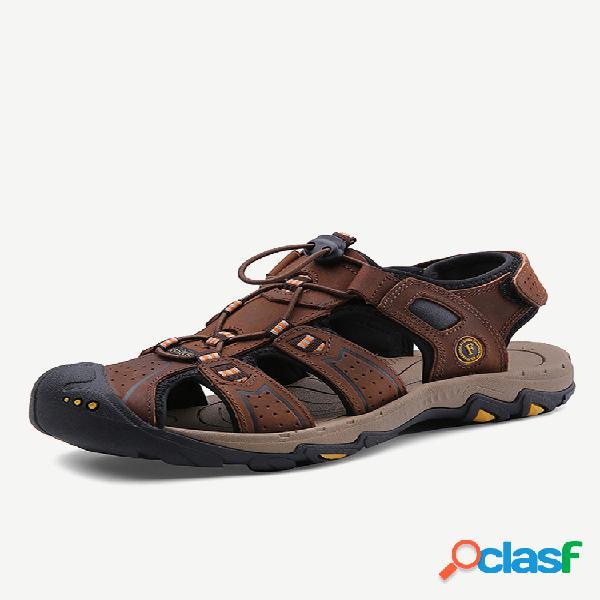 Sandálias masculinas anticolisão de couro antiderrapante soft com solado casual