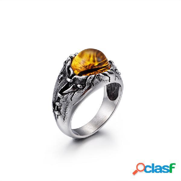 Anel de titânio do punk do vintage anel de gemstone amarelo magia opala real para ele