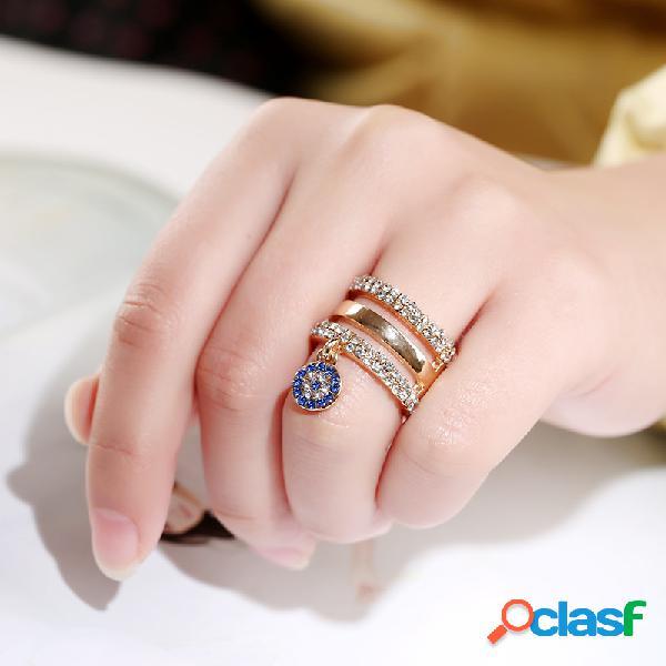 Moda criativa três anéis anel personalidade diamantes anel irregular geométrica anéis mulheres jóias
