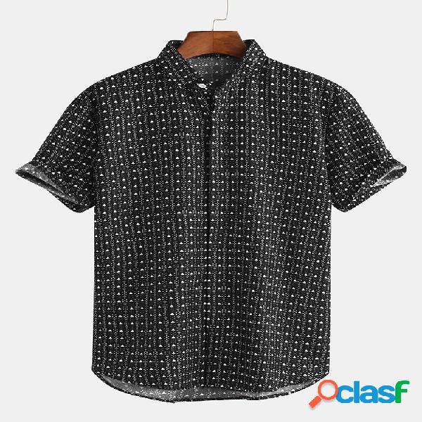 Moda verão masculina casual manga curta camisa tops de estampa geométrica
