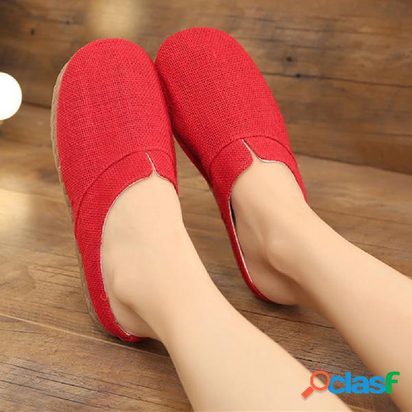 Mulheres de tamanho grande confortável linho dedo do pé fechado chinelos