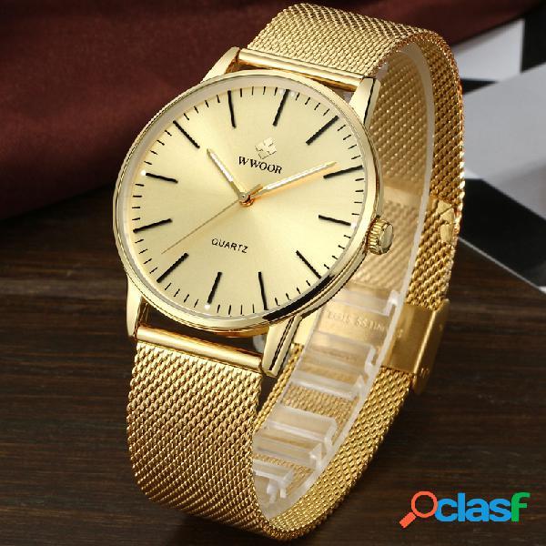 Relógio de pulso de aço inoxidável completo do relógio relógio da exposição do relógio de pulso dos homens do estilo ocasional