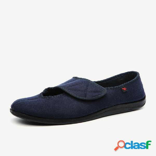 Tamanho grande gancho loop pano soft único casual sapatos baixos