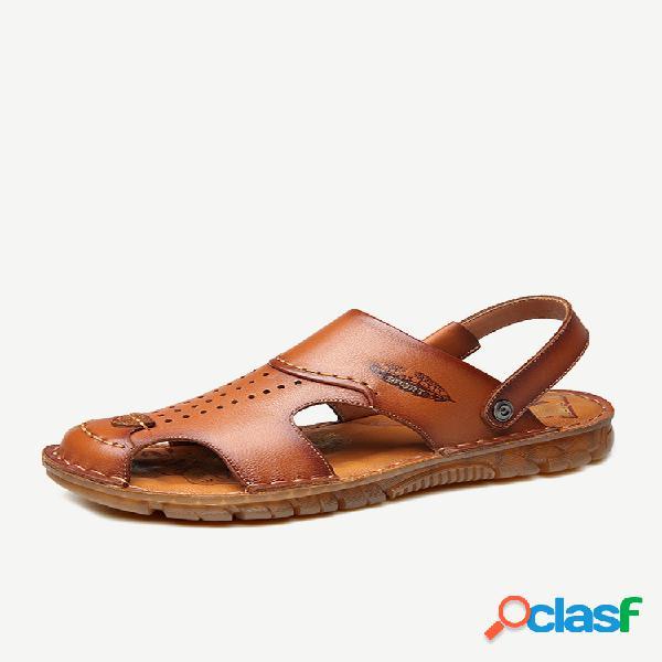 Buraco masculino couro genuíno antiderrapante soft solado casual praia sandálias