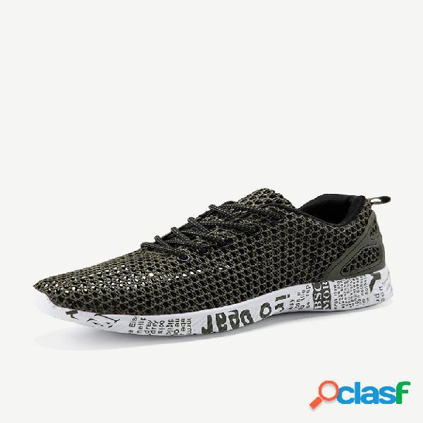 Malha masculina respirável tamanho grande soft sapatos aquáticos casuais