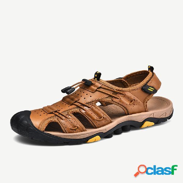 Masculino couro genuíno antiderrapante anticolisão soft sandálias de solado casuais para caminhada