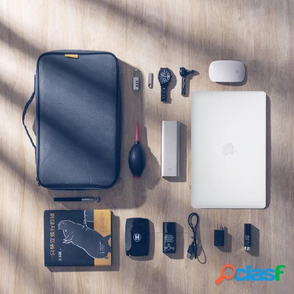 Produtos digitais multifuncionais com zíper duplo armazenamento de viagem bolsa nylon material armazenamento eletrônico