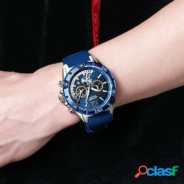 Relógio esportivo fashion quartzo luminoso cronógrafo à prova d'água silicone banda relógio de pulso