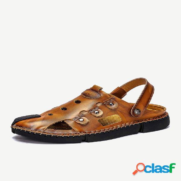 Sandálias masculinas de costura à mão antiderrapante soft com sola ao ar livre casual sandálias de couro