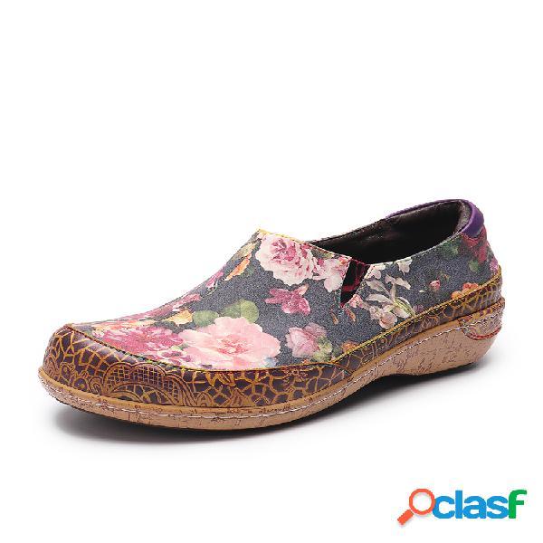 Socofy flores flor super confortáveis emendando veias retrô costurando deslizamento em sapatos baixos de couro para mulheres