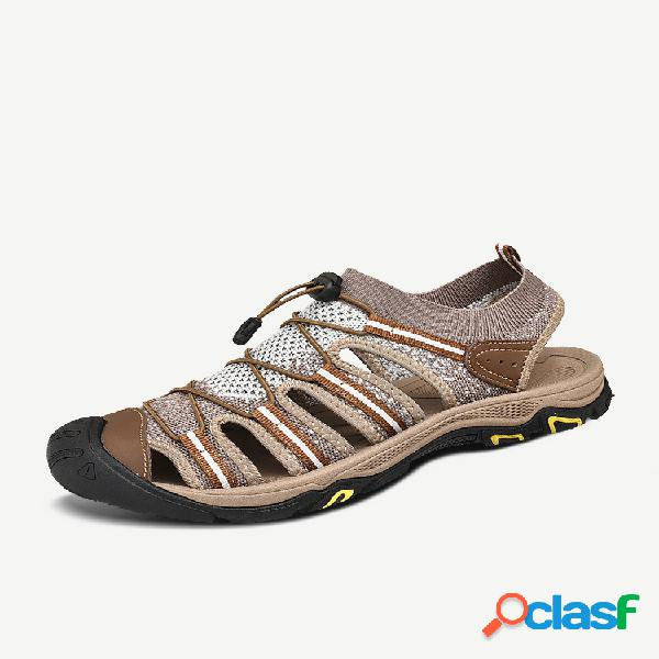 Homem super confortável tecido de malha soft sandálias antiderrapantes para exteriores
