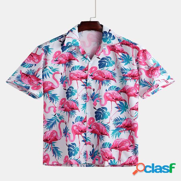 Homens engraçados flamingo havaiano estampado gola virada para baixo de manga curta solta camisas casuais