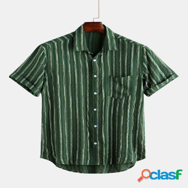 Masculino listrado respirável leve bolso no peito manga curta solta camisa