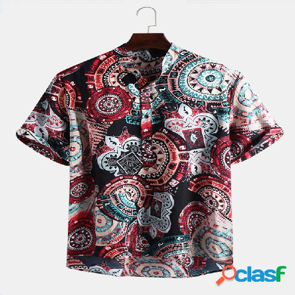 Mens estilo étnico impressão abstrata gola manga curta solta henley camisa