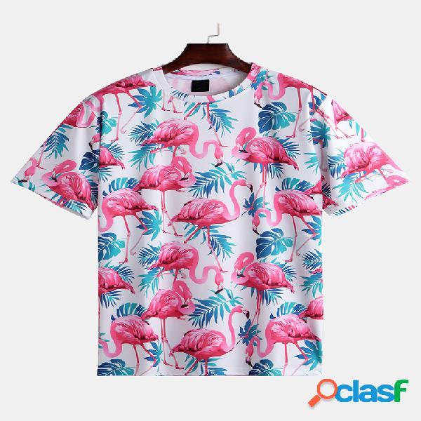 Mens verão engraçado flamingo havaiano impresso o-pescoço manga curta solta casual camisetas