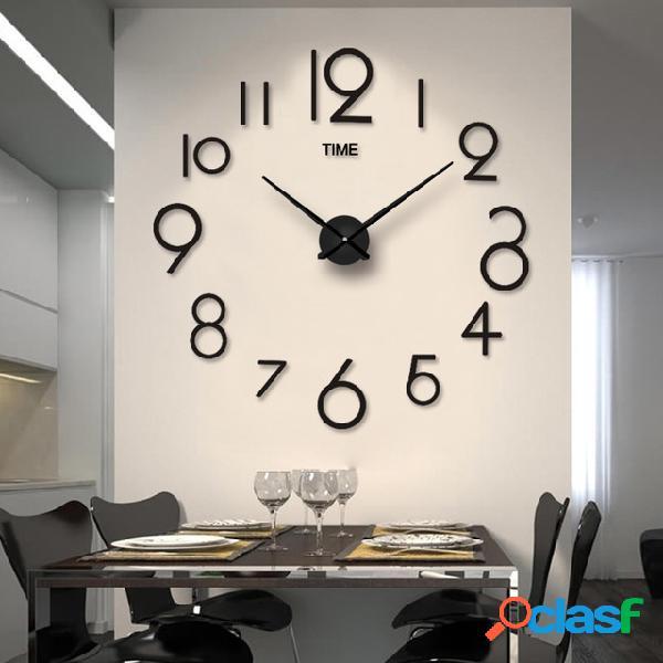 Personalidade criativa simples moda relógio de parede 3d espelho acrílico adesivos de parede relógio sala de estar diy relógio de parede