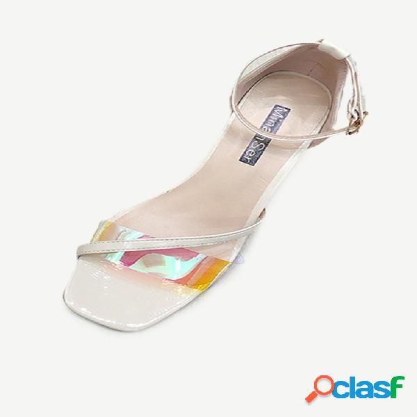 Sandálias femininas temporada nova moda sandálias de agulha de salto alto transparente feminino de salto alto