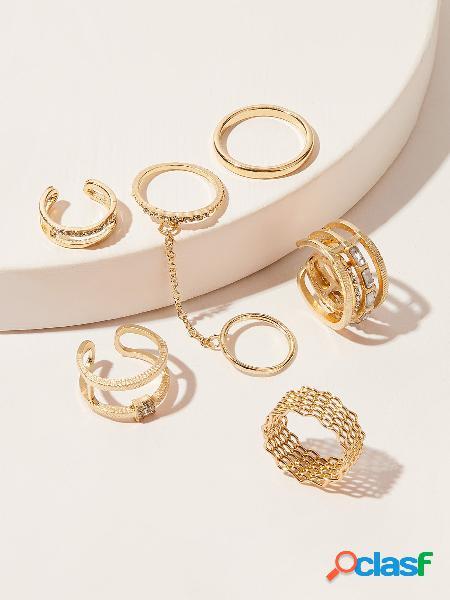 Vintage 7 pcs anel set metal oco anéis strass knuckle cadeia anel set para mulheres