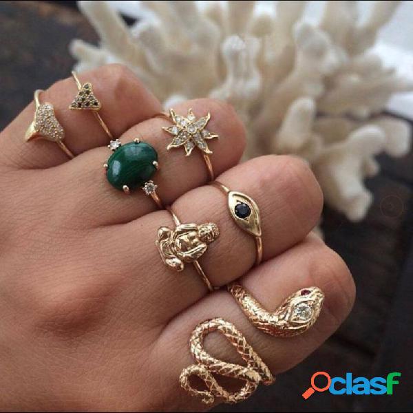 Anéis de strass geométrica do vintage set sol flor cobra metal knuckle rings jóias étnicas