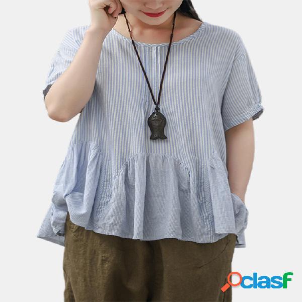 Blusa vintage listrada com babado patchwork solto tamanho plus
