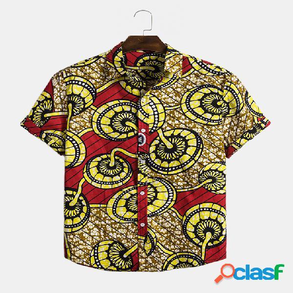 Mens colorful impresso turn down collar manga curta solta camisa