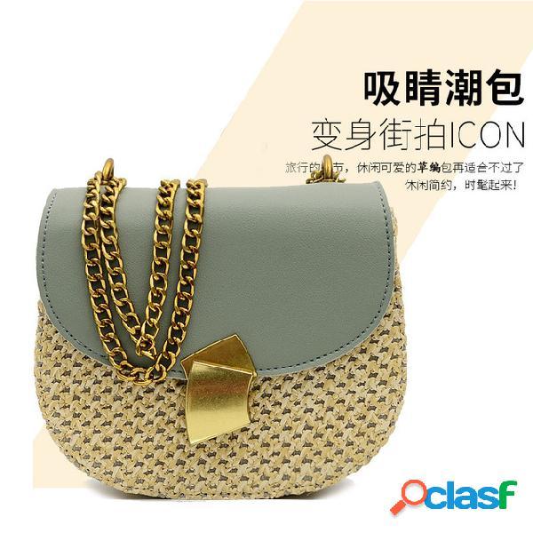 Nova nova moda saco de selim de palha pu hit cor semi-círculo diagonal ombro retro pequeno saco feminino