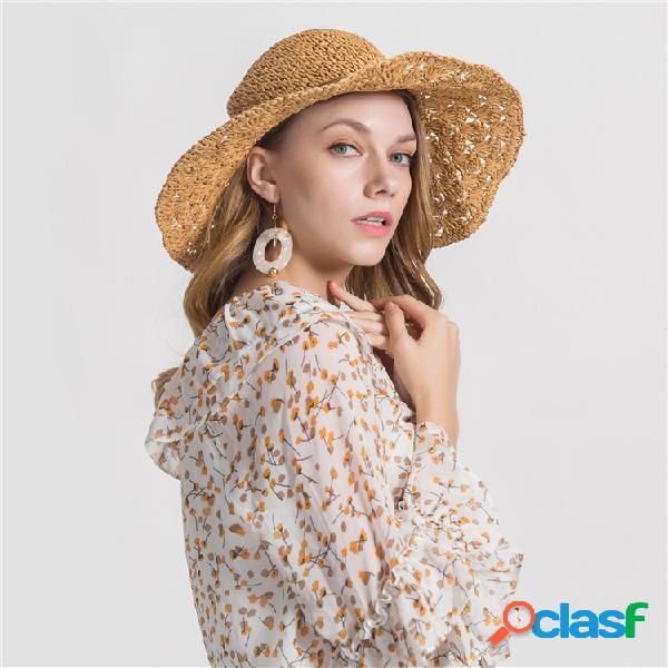 Palha chapéu da máscara do curso do tampão da borda da cor sólida da mulher grande com couro fino corda da agulha