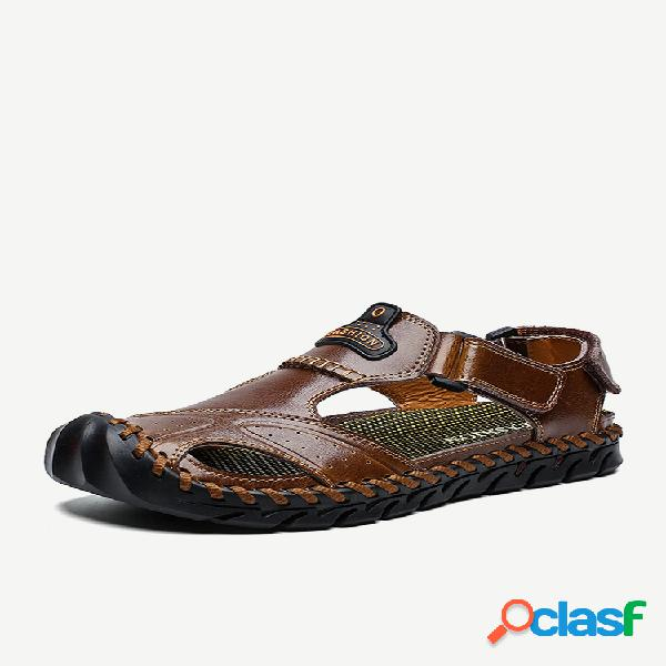Sandálias casuais masculinas com costura à mão couro anticolisão antiderrapante soft