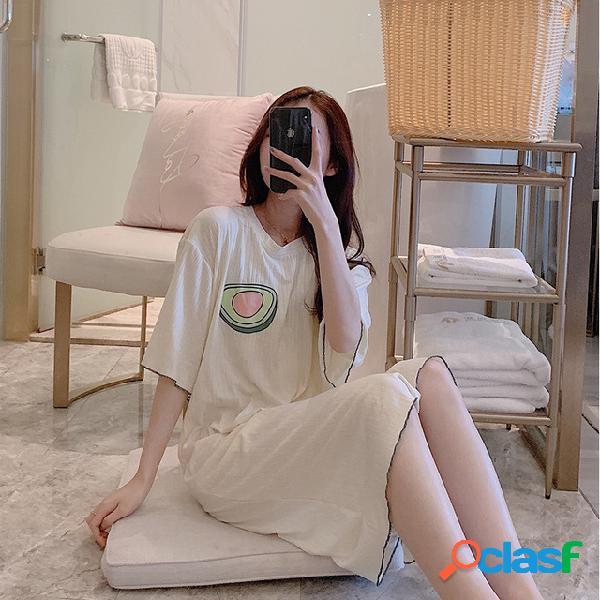 Temporada de manga curta de pijama das mulheres meninas de algodão casuais soltas esportes bonito serviço de casa camisola