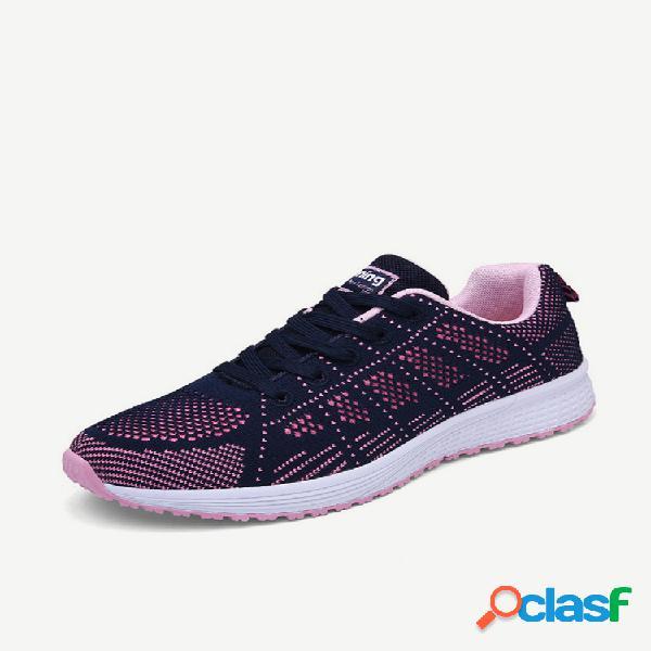 Temporada sports calçados femininos flying woven tênis de corrida tênis respirável malha leve baixo para ajudar os alunos malha sapatos casuais