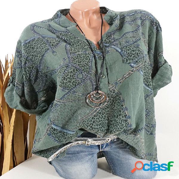 Blusa casual com estampa étnica de manga comprida com botão