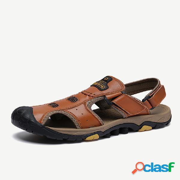 Dedo do pé anticolisão masculino ao ar livre gancho sandálias de couro anti-derrapante para caminhada