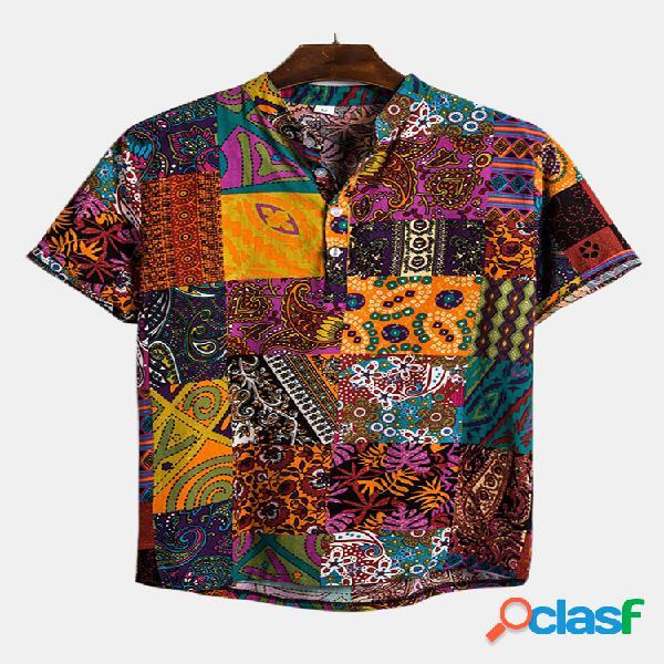 Estilo étnico masculino com impressão em bloco de cores de manga curta solta camisas henley casuais