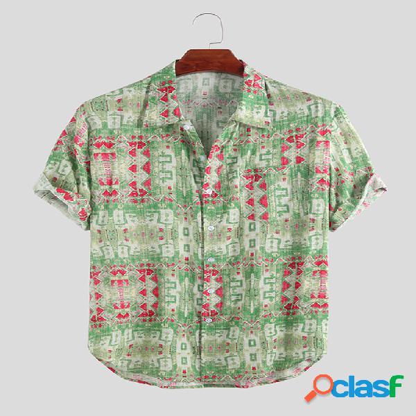 Homem abstrato batik impressão manga curta solta casual camisa