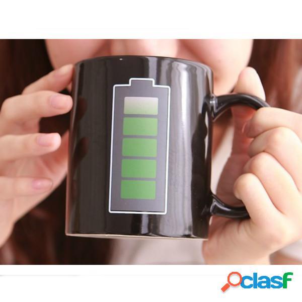 Magic bateria caneca de mudança de cor caneca de café sensível ao calor quente chá copo de café de leite