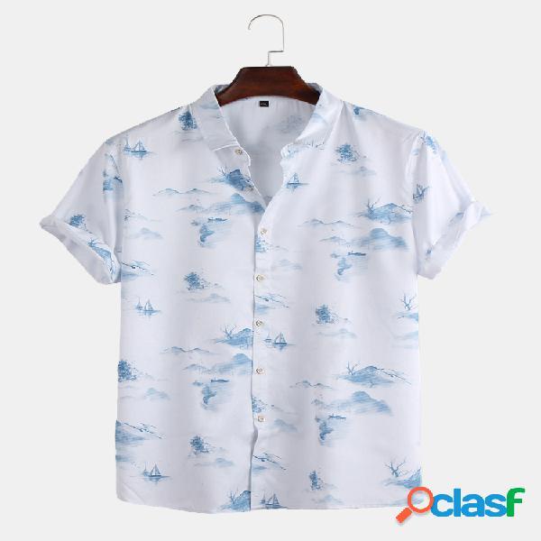 Masculino estilo chinês paisagem impressão manga curta solta casual camisa