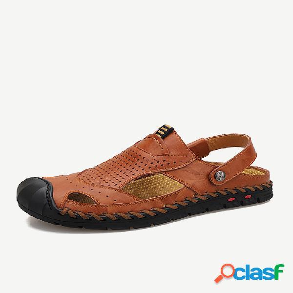 Sandálias de couro masculinas anticolisão anti-colisão antiderrapante soft de couro