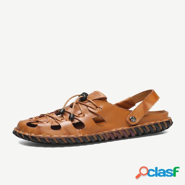 Tira de salto ajustável com costura à mão masculina sandálias de couro super soft