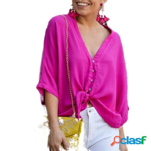 Chiffon camisa doce cor cor sólida botão com decote em v manga curta solta aberta