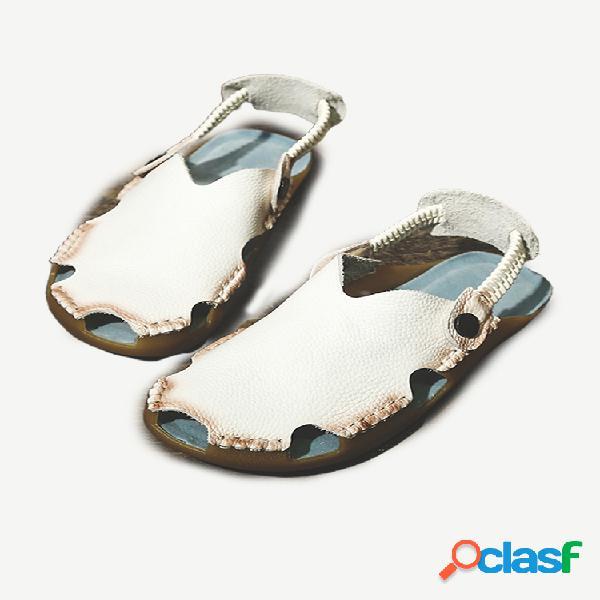 Dedo do pé fechado soft couro com costura elástica banda sandálias tipo slingback planas casuais