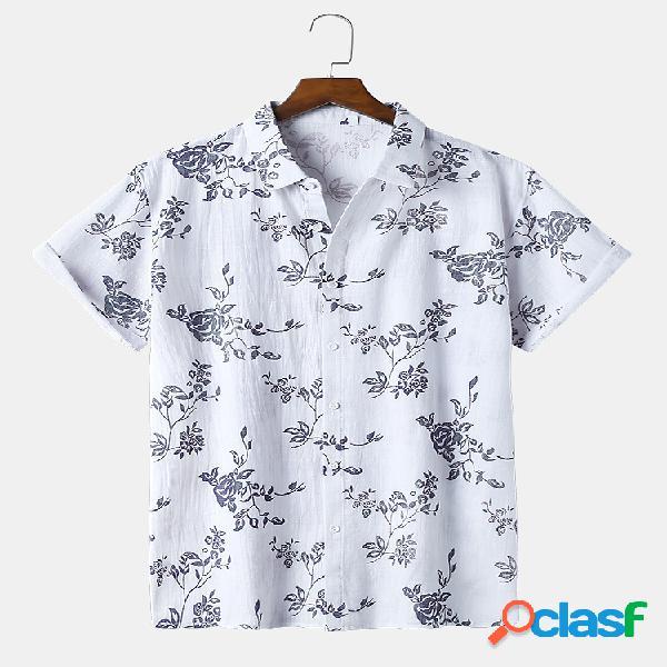Mens oriental flowers imprimir manga curta respirável fina lapela camisa