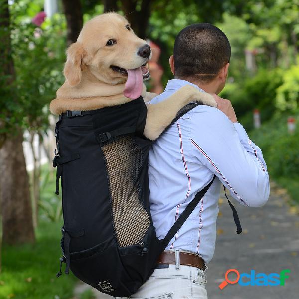 Mochila para viajante de ombro para animais de estimação cachorro para ventilação de afloramento, mochila respirável e lavável para bicicleta ao ar livre
