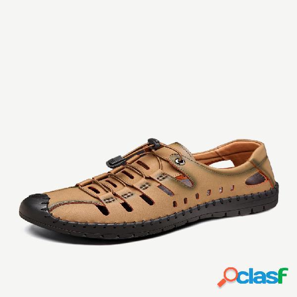 Sandálias de couro masculino com costura à mão e proteção externa soft elástica de couro