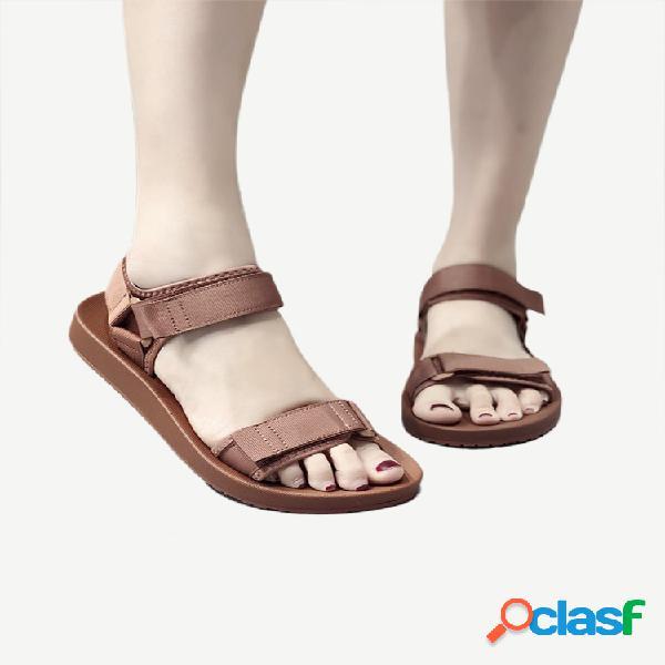 Sandálias esportivas casuais ajustáveis gancho loop respirável cor sólida