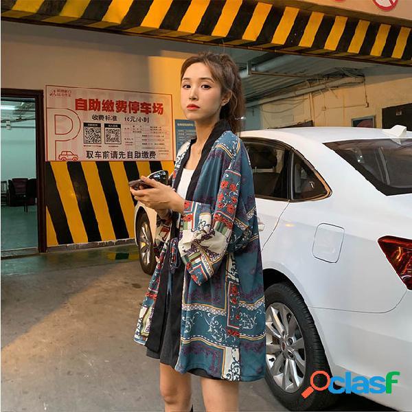 Solto casual retro hong kong-estilo impresso cardigan manga nove ponto camisa roupas de proteção solar
