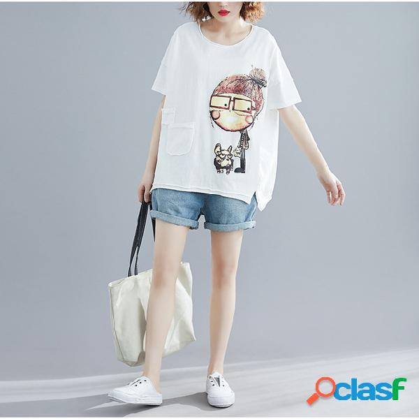 T-shirt de algodão do vintage de manga curta em torno do pescoço patch irregular impressão dos desenhos animados solta gordura camisa de mm
